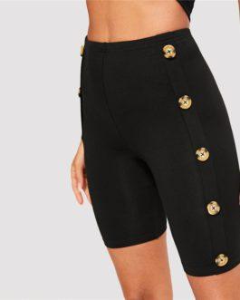Women Buttoned Side Skinny Plain Shorts