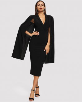 Women Cape Sleeve Deep V Neck Shawl Surplice Pencil Bodycon Dress
