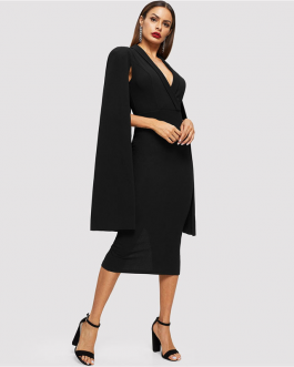 Women Cape Sleeve Deep V Neck Shawl Surplice Pencil Bodycon Dress
