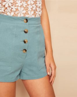 Women Casual Button Fly Patch Pocket Straight Leg Shorts
