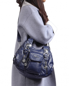Women Casual Soft Leather Multi-Pockets Handbag