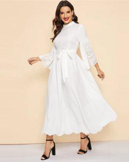 Women Casual Stand Collar Scallop Edge Laser Cut Belted Plain Dress