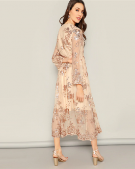 Women Casual V Neck Scalloped Wrap Front Floral Sequin Long Dress