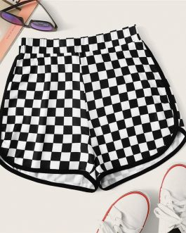 Women Checker Print Dolphin Hem Shorts