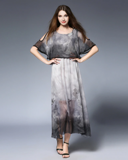 Women Chiffon Bohemian print beach Loose dress Batwing Sleeve long Dress
