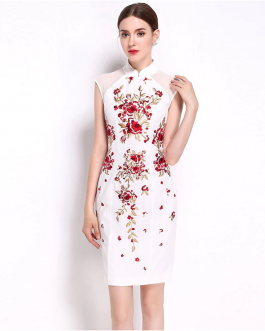 Women Chiffon Floral Embroidery Sweet short Pencil dress