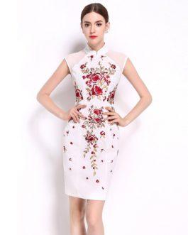 Women Chiffon Floral Embroidery Sweet short Pencil dress