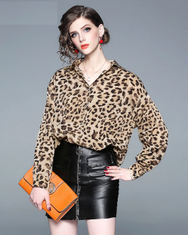 Women Chiffon new Leopard print loose blouse top Elegant Ladies shirt