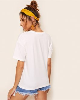Women Clothing Casual White Short Sleeve Solid Stretchy Top