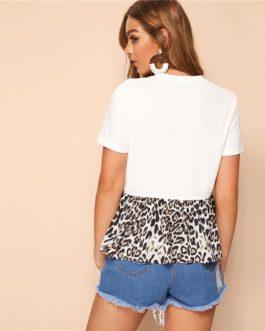 Women Color-block O-Neck Ruffle Hem Short Sleeve Casual T-shirts