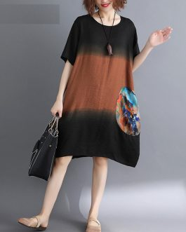 Women Cotton plus size Loose Boho O-Neck Casual Dress