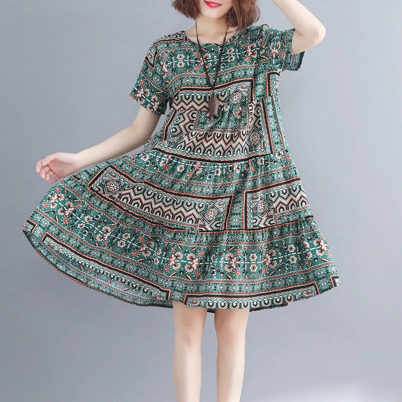 Women Cotton plus size Loose Print Dress Boho Casual Dress