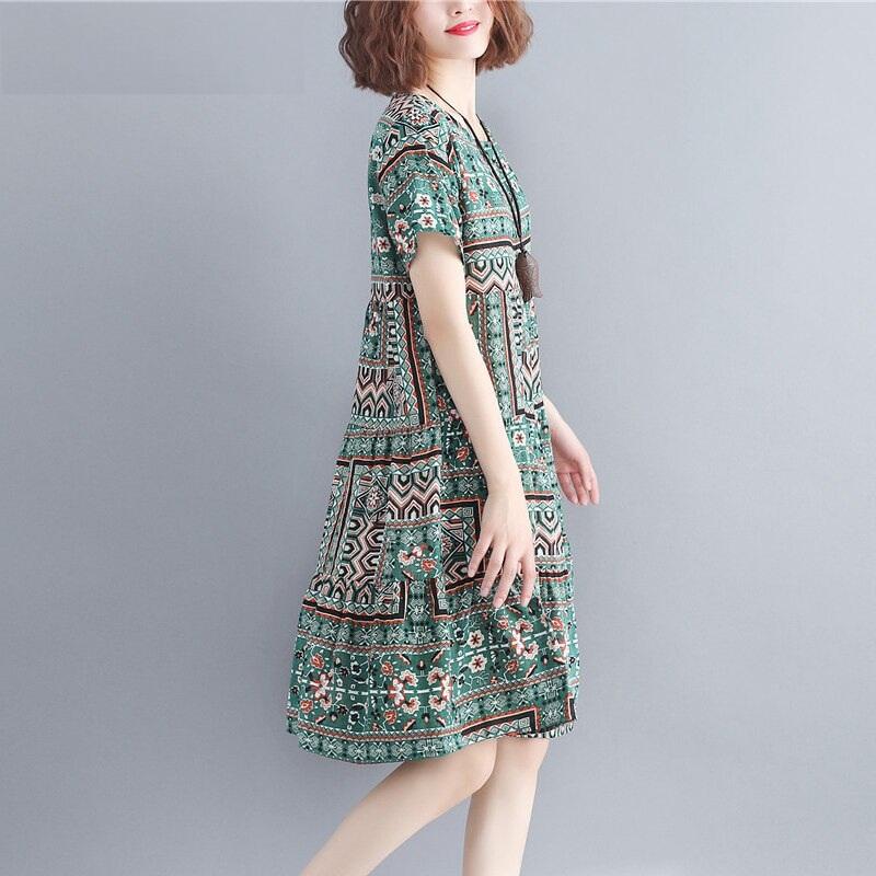 Women Cotton plus size Loose Print Dress Boho Casual Dress