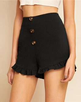 Women Cute Button Fly Zip Side Frilled Hem Shorts