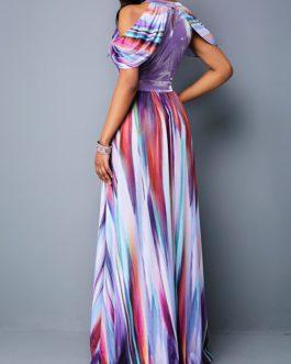 Women Dazzle Color Cold Shoulder High Waist Dress