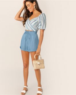 Women Drawstring Waist Cuffed High Waist Shorts