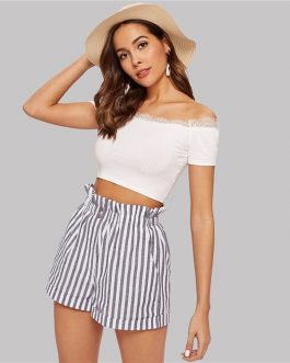Women Elegant Boho Ruffle Elastic Waist Slant Pocket Striped Shorts