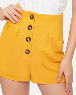 Women Elegant Button Front High Waist Shorts