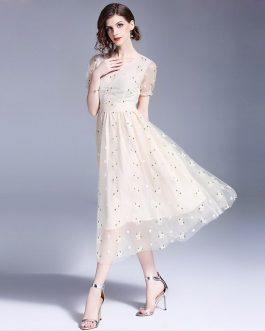 Women Elegant Mesh Chiffon Embroidery Sweet long  party dress