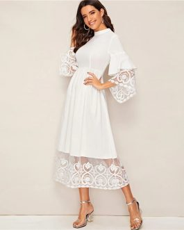 Women Elegant Mock-Neck Embroidery Fit and Flare Long Dress