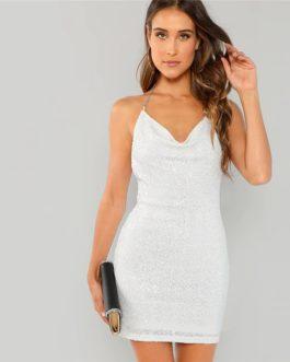 Women Elegant Open Back Glitter Sequin Pencil Party Dress