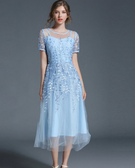 Women Elegant embroidery vestidos Holiday Sweet party Dress