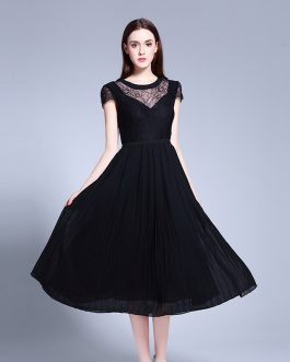 Women Elegant large size lace Chiffon fashion Patchwork dress