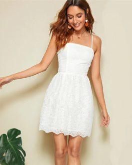 Women Eyelet Embroidery Short Romantic Cute Slip Cami Dress