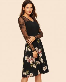 Women Floral Lace Panel Fit And Flare Elegant Vintage Party Dress
