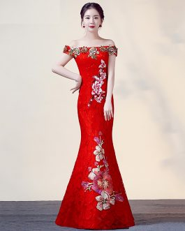 Women Floral Mermaid vestidos Embroidery bodycon maxi dress
