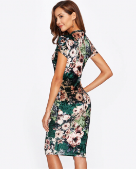 Women Floral Velvet Knee Length Elegant Pencil Dress
