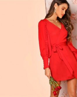 Women Frilled Bishop Sleeve Belted V Neck Short A Line Dress