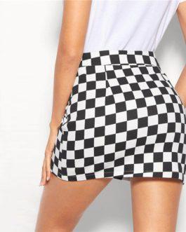 Women Glamorous Bodycon Mid Waist Plaid Skirt