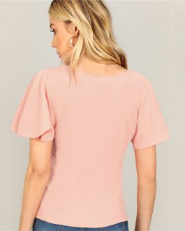 Women Going Out Minimalist Short Sleeve Tee