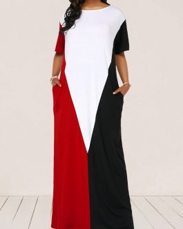 Women Half Sleeve Round Neck Maxi Dress