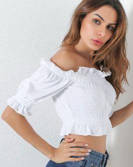 Women Half Sleeve Ruffles Off The Shoulder Crop Top
