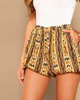 Women High Street Casual Mid Waist Loose Pocket Shorts