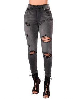 Women High Street Casual Pencil Pants High Waisted Jeans