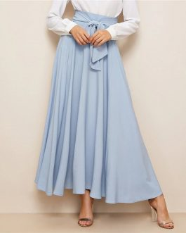 Women High Waist Elegant Blue Solid Zipper Belt A Line Skirt