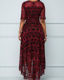 Women High Waist Half Sleeve High Low Dress