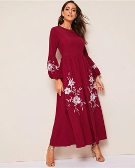 Women High Waist Lantern Sleeve Floral Embroidered Dress