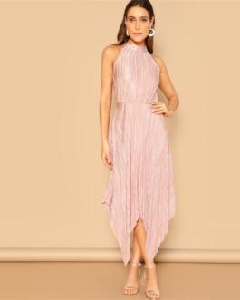 Women Keyhole Back Sleeveless Elegant Maxi Plain Dress