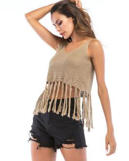Women Knitted Tassel V Neck Sexy Crop Top