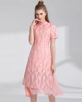 Women Lace Chiffon Floral slim Sweet Asymmetrical Party Dress
