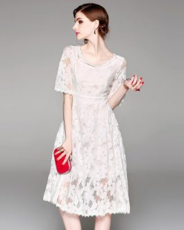 Women Lace Print Hollow Out short Dress  Holiday Party Dress