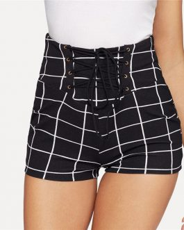 Women Lace Up Front Plaid Skinny Sexy and Club Shorts