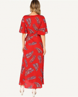 Women Leaves Print Boho  V Neck Half Sleeve Belted Maxi Dress