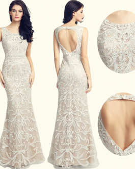 Women Long Lace Mermaid Evening Dress Open Back Formal Party Gowns
