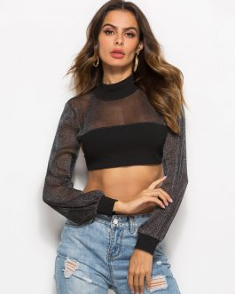 Women Long Sleeve Cut Out Lace Up Crop Top