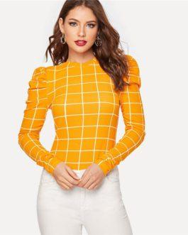 Women Long Sleeve Stretchy Casual Elegant T-shirt